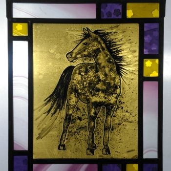 Wild Horse hand-painted panel