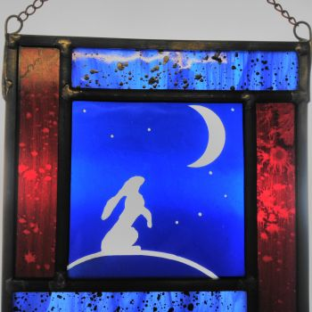"""Starry Moonlit Night"" - sandblasted and painted hare panel"