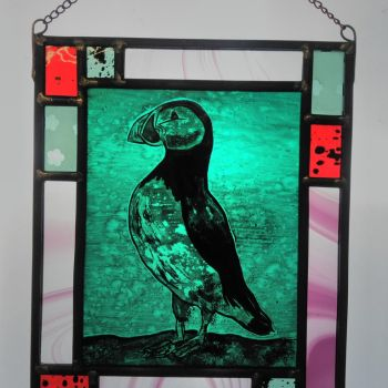 'Punk Puffin' - hand painted stained glass panel