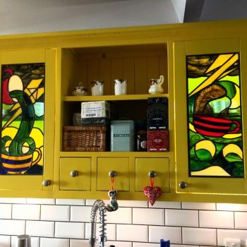 Storm in a Teacup - a pair of bespoke backlit cupboard panels