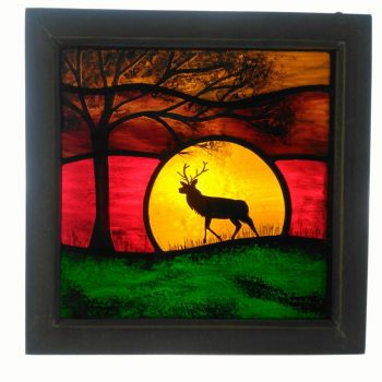 NEW!!! Medium framed panel 'Sunrise Stag'