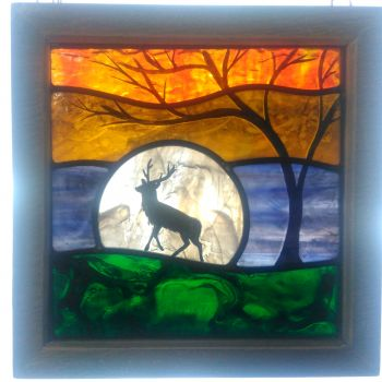 NEW!!! Medium framed panel 'Spring Stag'