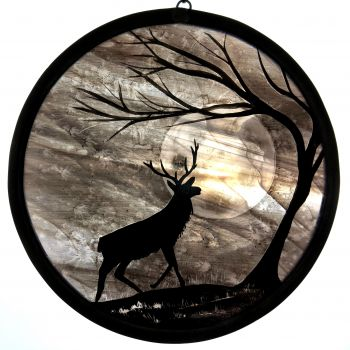'Lilac Stag'  - hand painted stained glass panel
