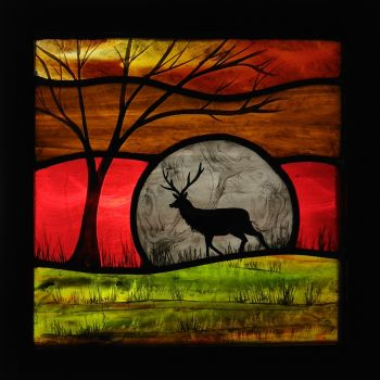 NEW!!! Medium framed panel 'Moonlit Stag'