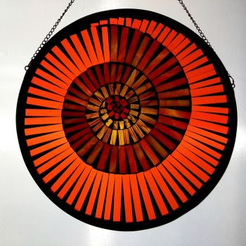 'Orange Amber' - Ammonite Mosaic panel