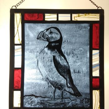 """The Pembrokeshire Puffin"" - hand painted stained glass panel"