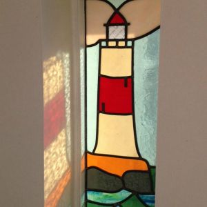 Pair of custom made Lighthouse panels for cottage by the sea