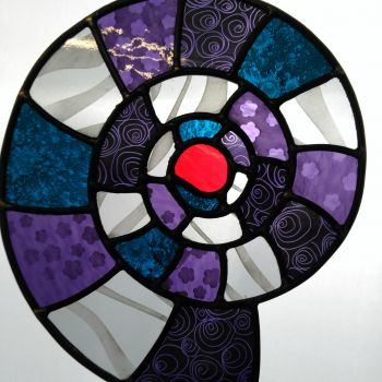 Sandblasted purple, teal and silver textured glass ammonite - large